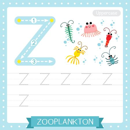 Letter Z uppercase cute children colorful zoo and animals ABC alphabet tracing practice worksheet of Zooplankton for kids learning English vocabulary and handwriting vector illustration.