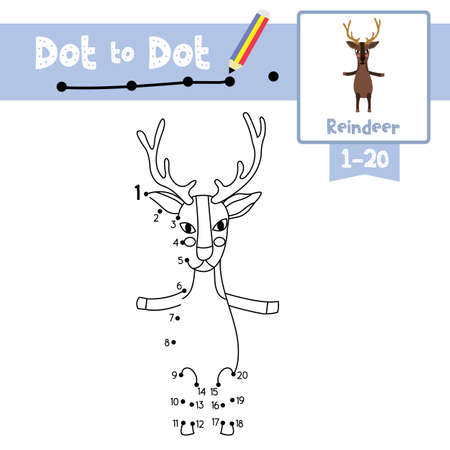 Dot to dot educational game and Coloring book of Reindeer standing on two legs animals cartoon character for preschool kids activity about learning counting number 1-20 and handwriting practice worksheet. Vector Illustration.