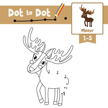 Dot to dot educational game and Coloring book of Standing Moose animals cartoon character for preschool kids activity about learning counting number 1-5 and handwriting practice worksheet. Vector Illustration.