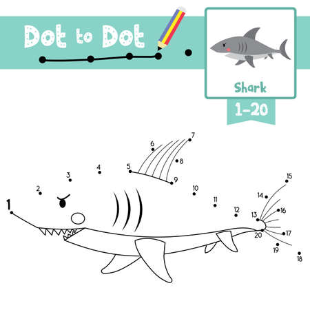 Dot to dot educational game and Coloring book of Shark side view animals cartoon character for preschool kids activity about learning counting number 1-20 and handwriting practice worksheet. Vector Illustration.