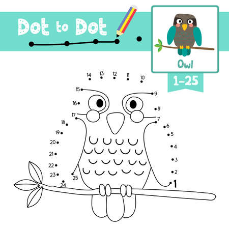 Dot to dot educational game and Coloring book of Turquoise Owl bird animals cartoon character for preschool kids activity about learning counting number 1-25 and handwriting practice worksheet. Vector Illustration. Ilustracja