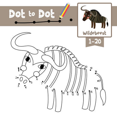Dot to dot educational game and Coloring book of Wildebeest animals cartoon character for preschool kids activity about learning counting number 1-20 and handwriting practice worksheet. Vector Illustration. Ilustracja