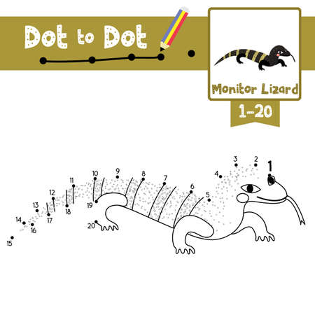 Dot to dot educational game and Coloring book of Monitor lizard animals cartoon character for preschool kids activity about learning counting number 1-20 and handwriting practice worksheet. Vector Illustration.