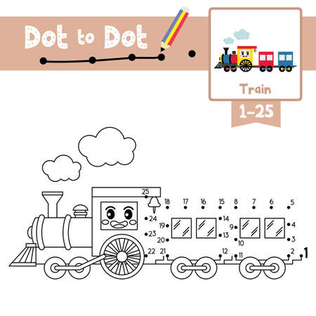 Dot to dot educational game and Coloring book of cute Train cartoon transportations for preschool kids activity about counting number 1-25 and handwriting practice worksheet. Vector Illustration. Ilustracja