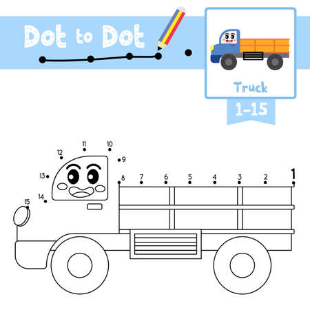Dot to dot educational game and Coloring book of cute Truck cartoon transportations for preschool kids activity about counting number 1-15 and handwriting practice worksheet. Vector Illustration. Ilustracja