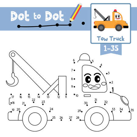 Dot to dot educational game and Coloring book of cute Tow Truck cartoon transportations for preschool kids activity about counting number 1-35 and handwriting practice worksheet. Vector Illustration.