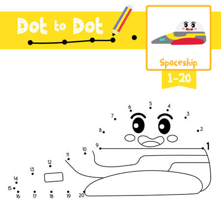 Dot to dot educational game and Coloring book of cute Spaceship cartoon transportations for preschool kids activity about counting number 1-20 and handwriting practice worksheet. Vector Illustration.
