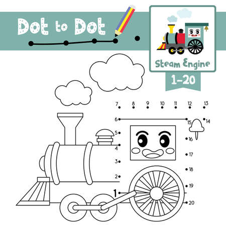 Dot to dot educational game and Coloring book of cute Steam Engine cartoon transportations for preschool kids activity about counting number 1-20 and handwriting practice worksheet. Vector Illustration. Ilustracja