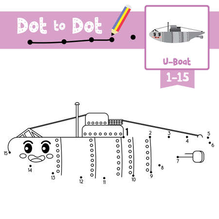 Dot to dot educational game and Coloring book of cute U-Boat cartoon transportations for preschool kids activity about counting number 1-15 and handwriting practice worksheet. Vector Illustration.