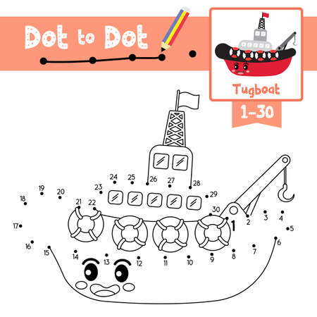 Dot to dot educational game and Coloring book of cute Tugboat cartoon transportations for preschool kids activity about counting number 1-30 and handwriting practice worksheet. Vector Illustration. Ilustracja