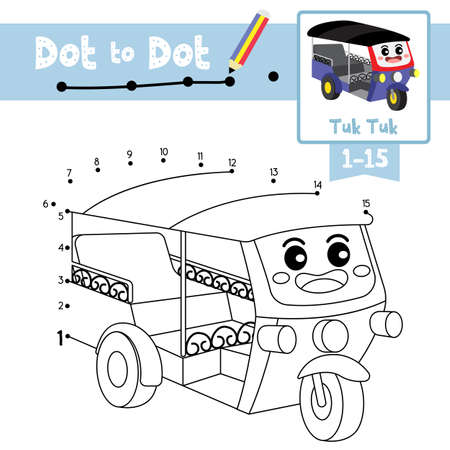 Dot to dot educational game and Coloring book of Tuk Tuk cartoon transportations for kids activity about counting number 1-15 and handwriting practice worksheet. Vector Illustration.