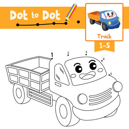 Dot to dot educational game and Coloring book of Truck cartoon transportations for kids activity about counting number 1-5 and handwriting practice worksheet. Vector Illustration. Ilustracja