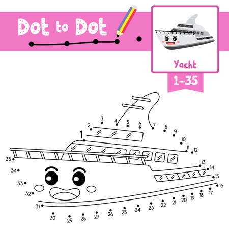 Dot to dot educational game and Coloring book of Yacht cartoon transportations for kids activity about counting number 1-35 and handwriting practice worksheet. Vector Illustration.