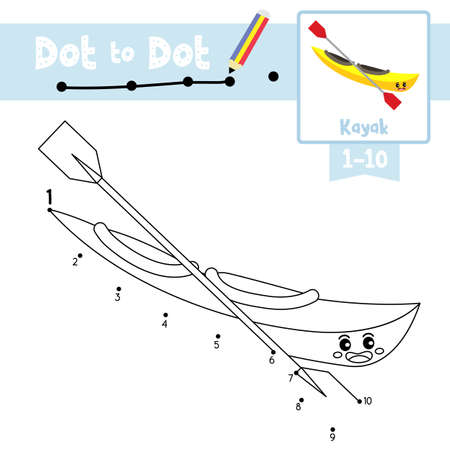 Dot to dot educational game and Coloring book of Kayak cartoon transportations for kids activity about counting number 1-10 and handwriting practice worksheet. Vector Illustration. Ilustracja