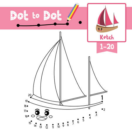 Dot to dot educational game and Coloring book of Ketch cartoon transportations for kids activity about counting number 1-20 and handwriting practice worksheet. Vector Illustration. Ilustracja