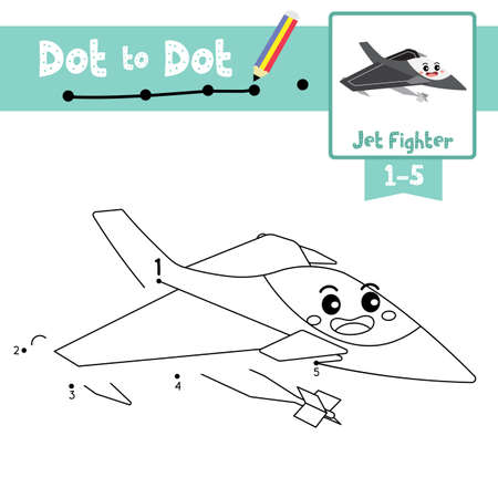 Dot to dot educational game and Coloring book of Jet Fighter cartoon transportations for kids activity about counting number 1-5 and handwriting practice worksheet. Vector Illustration.