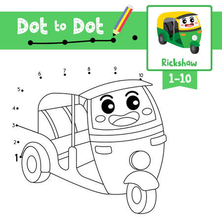 Dot to dot educational game and Coloring book of Auto Rickshaw cartoon transportations for kids activity about counting number 1-10 and handwriting practice worksheet. Vector Illustration.