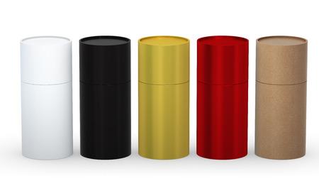 Blank cilindervormige verpakking met verscheidenheid materiaal set Stockfoto