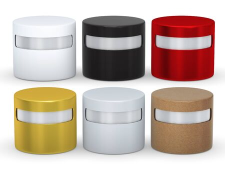 cylindrical: Blank cylindrical box packaging set with copy space, clipping path included Stock Photo