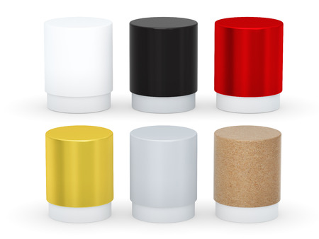 cylindrical: Blank short cylindrical box packaging  with variety material set, clipping path included.