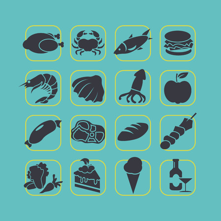 Flat style food icon set vector