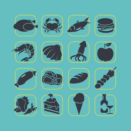 banger: Flat style food icon set vector