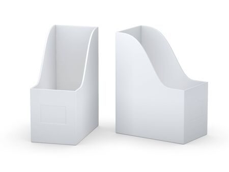 book case: White curve blank  file holder with clipping path Stock Photo
