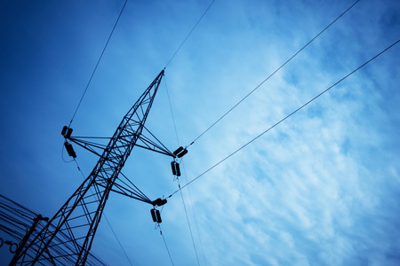 struts: Electricity tower and wires  with sky background . Stock Photo