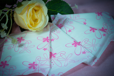 roses and blood: Sanitary pad package for woman hygiene protection
