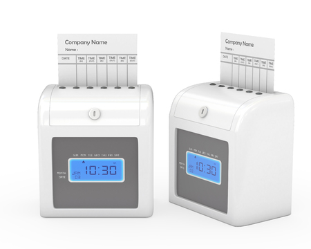 timecard: Time recorder machine and timecard with clipping path, Stock Photo