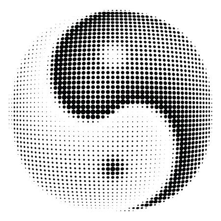daoism: Halftone of Ying-yang symbol dot vector