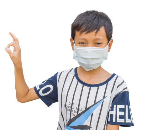 protective: Boy wearing protective mask with clipping path Stock Photo