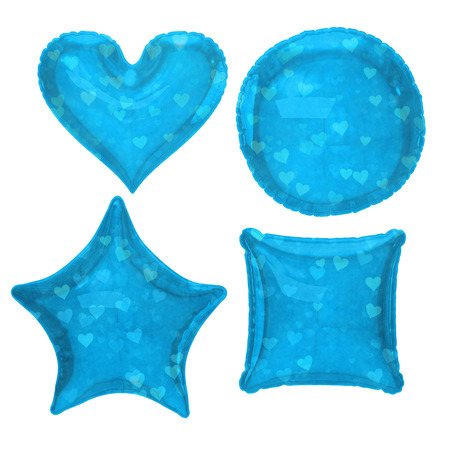 Blue heart pattern foil balloon set with clipping path Stock Photo