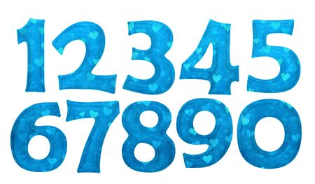 Blue heart pattern number foil balloon set with clipping path Stock Photo