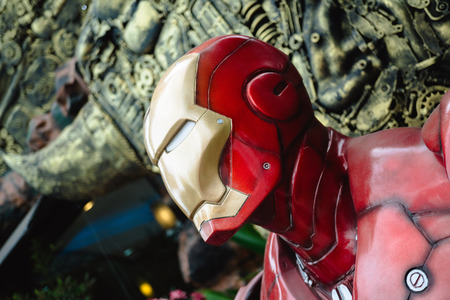avenger: NAKHON RATCHASIMA, THAILAND - JULY 11, 2016 : Iron Man model which made from old steel at Robot world.