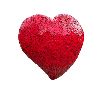 Red heart shape model made from old steel with clipping path  Stock Photo