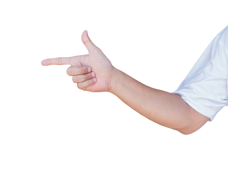 Hand showing  pointing  gesture with clipping path
