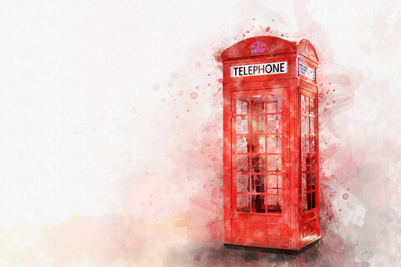 Digital painting of classic red telephone booth, watercolor style
