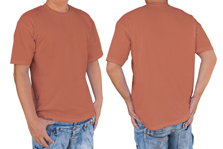 Man wearing Contessa red color t-shirt with clipping path, front and back view. Template for insert logo, pattern, or artwork.