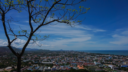Aerial view of Hua Hin city  with coastline from mountain, Thailand