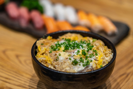 Japanese rice with chicken and egg (Donburi or oyakodon) Stok Fotoğraf
