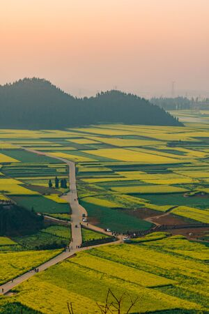 Small villages with Rapeseed flowers at Jinjifeng(Golden Chicken Peak), China