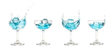 Champagne Coupe Glass with blue water splash