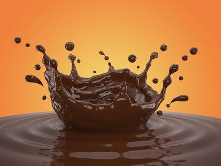 3d illustration of chocolate splash on gradient yellow background