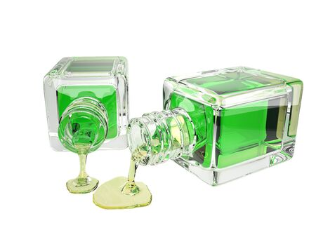 3d illustration of cosmetic glass bottle  transparent green drops,   included
