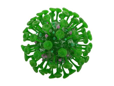 3d illustration of flu Covid-19 cell isolated on white with clipping path