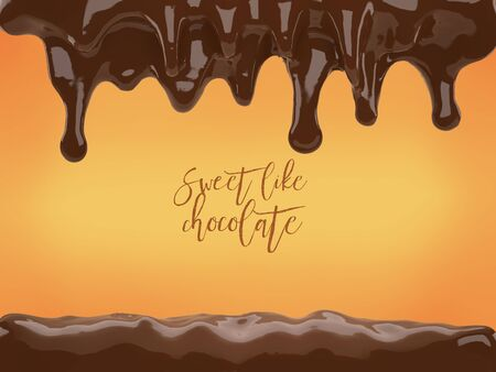 3d illustration   liquid chocolate dripping template
