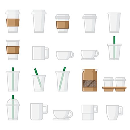 Paper Cup with sleeve, Cold Cup with straw, Mug, Whole beans bag and Paper cup in Tray icon