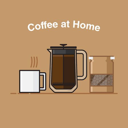 coffee at home with coffee french press and white mug and Coffee beans