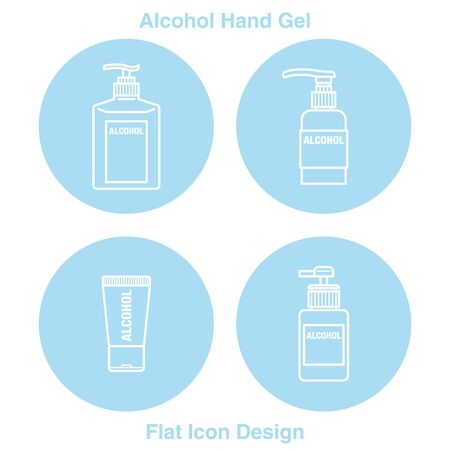 Hand Sanitizer Dispenser, infection control concept. Sanitizer to prevent colds, virus, Coronavirus, flu. Clean Blue background. Antimicrobial germ kill spray bottle Flat Icon Design blue badge
